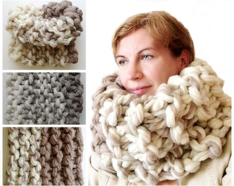Cowl Scarf - Chunky knit scarf - Super Chunky infinity scarf, Super bulky scarf,  Chunky scarf - Super chunky wool - 14x32 inches 35X80 cm