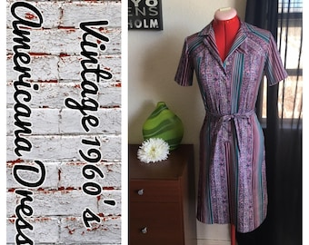 Americana  Vintage Purple Floral button down shirt dress
