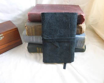 Beautiful Black Suede/Leather Journal - Wrap Style with Slight Angled Cover - 4x6 in.