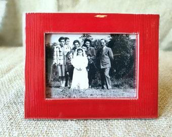 Photo frame (for table) in red glazed ceramic