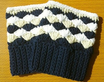 Crochet Boot Cuffs: Navy Blue, Heather and White