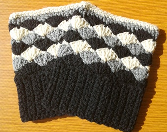 Crochet Boot Cuffs: Black, Gray and Heather