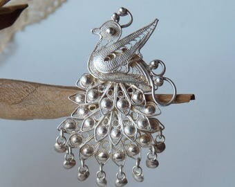 Sterling Silver Filigree Peacock Pin Vintage Brooch, Silver Dangle Pin- Brooch, Retro Bird Brooch, Delicate Bird Jewelry Filigree Jewelry