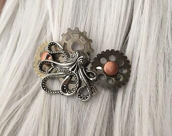 Steampunk Octopus Mermaid Hair Accessories - Nautical Hair Clip or Octopus Thin Hair Clip Wedding Hair Accessories - Octopus Hair Clip