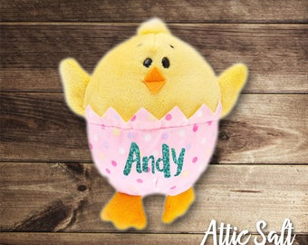 Plush Chick, Plush Bunny, Custom Name, Easter, Springtime, Basket Filler
