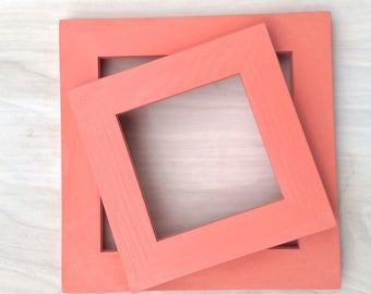 4x4 Picture Frame - Melon - Frame for 4x4 Tiles, Instagram Prints or Needlework. Solid Wood Frame.