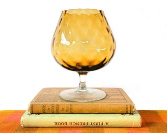 Vintage Balloon Glass / 60s Amber Glass Vase / Midcentury Glassware / 1960s Glass Goblet / Amber Glass Ornament