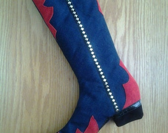 Western BOOT CHRISTMAS STOCKING, Handcrafted, Free U.S.A. Shipping