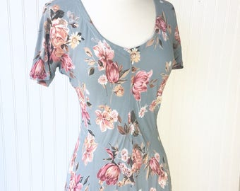 Blue Flowy Floral 90s Mid Length Dress