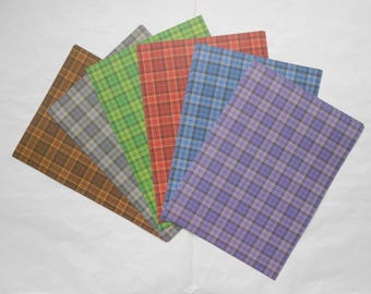 Scottish TARTAN Plaid Check 120gsm A5+ Patterned Craft Card Making Scrapbook Paper - 24 Sheets 6 Colours