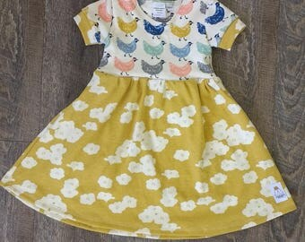 Organic chicken and poppy dress - 3M 6M 9M 12M 18M 24M 2T 3T 4T 6 8 10 12 - baby girl - baby shower - birch cotton