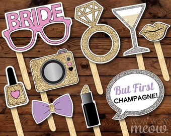 50 Photo Booth Props PRINTABLE Bridal Shower Bachelorette Party INSTANT DOWNLOAD Editable Cards Selfie Picture Lips Champagne Glasses Rings