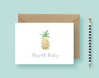 Pineapple Personalized Stationery - Personalized Note Cards - Custom Note Cards - Birthday Gift - Printable or Printed - FREE SHIPPING