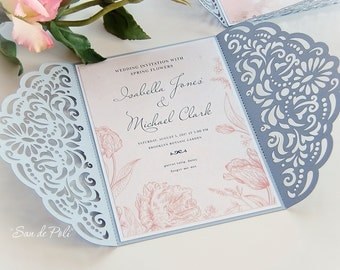 Wedding invitation Template filigree (svg, dxf, cdr) Quinceanera, Christening, Plotter file laser die cut Pattern Silhouette Cameo Cricut