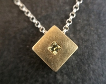 18 Karat Yellow Gold Pendant with Princess Cut Yellow Sapphire Sterling Silver Chain