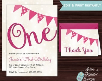 Child's First Birthday Invitation, One Year Old Birthday Invitation, Girls First Birthday, Free Thank You Cards, PInk Glitter, Print at Home