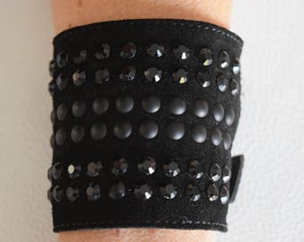 Bracelet, Black Suede, studded with black studs and Rhinestones, made in Italy