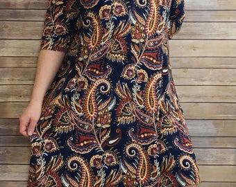 Paisley tunic dress, raisin paisley tunic, purple paisley dress, navy paisley tunic, blue paisley dress