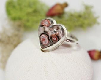 Valentine heart ring Leopard skin jasper heart ring statement ring silver bezel necklace gemstone  silversmith US size 8