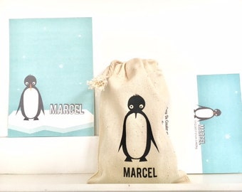 personalized birthgift, giftbags baptism candybag print pinguin drawstringbags giftidea ecocotton black & white mint sugar sweets birthcards
