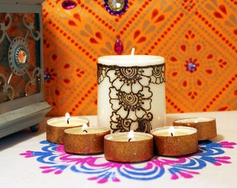 Henna candle, Mehndi candles, Henna party, Pooja decor, Holiday centerpiece, Diwali favors, Wedding decor, Indian Wedding, Thank you gift