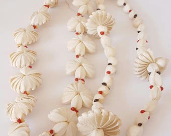 Vintage Polynesian tribal shell necklaces, primitive shell neck piece, Australasian antique shell lei, decorative tribal shell adornments.