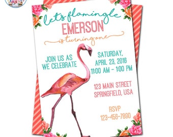 Flamingo Invitation, Flamingo Party, Flamingo Birthday Invitation, Let's Flamingle