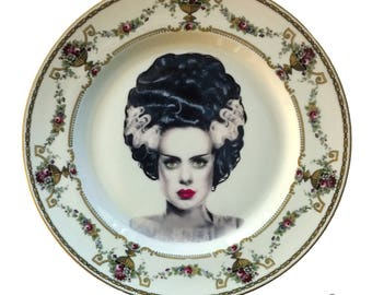 Vintage - Illustrated - Bride of Frankenstein Plate - Upcycled - Wall Display  - China  - Altered - Antique-Plate