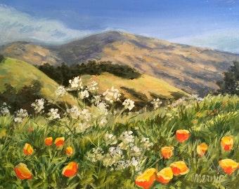 Diablo with Poppies 5 Original Acrylic Painting / Lafayette CA Landscape