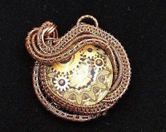 Copper Steampunk Eye Pendant