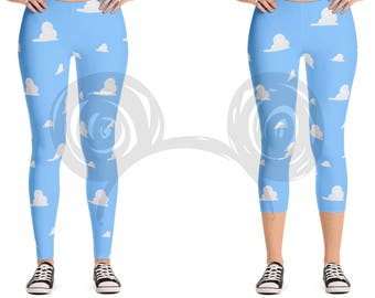 Andy's Room Inspired Women's Leggings, Toy Story Cloud Stretch Leggings / Capri
