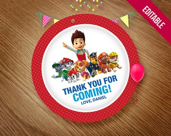 PAW PATROL Printable Favor Tag, Marshall Thank You Tags, Paw Patrol Birthday Party Theme, Printable Stickers, Center Piece, Instant Download