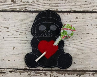 Vader Sucker Holder - Small Gift - Class Party Gift - Valentine's Day - Lollipop Holder - Party Favor - Thank You Gift - Party Supplies
