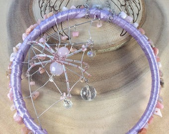 Dream catcher, Sun catcher, Crystal suncatcher, glass suncatcher,  lilac, Opal, Spider web, Wall hanging,  Pagan, Witch, Wicca, OOAK.