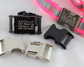 Engraved ID Metal Buckle Collar - personalized dog collar ID metal buckles