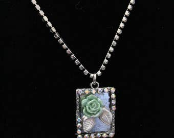Silver and Green Flower Frame Necklace, Silver and Green Necklace, Silver Necklace