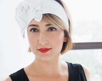 White scarf. Head scarf. Gift for her. Head band.