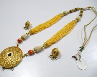 Indian Traditional Navratan Pendant Set with exclusive designer beads strings, Meenakari Enamel Rajwada Style Necklace set 28 inches long