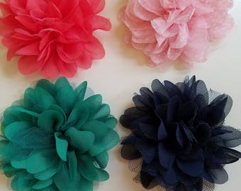 Set of 4 Frilly Flowers on Alligator Clip