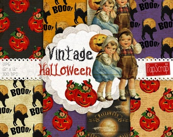 "Halloween digital paper : ""Vintage Halloween"" digital paper for Halloween party, scrapbooking, invitations, cards, Halloween patterns"