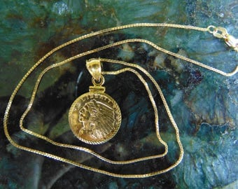 "Beautiful Genuine 1909 2.50 Gold Indian Pendant Necklace, Diamond Cut 14k Bezel, 18"" 14k Box Chain, Gold Indian Coin, US Gold Coin Pendant"
