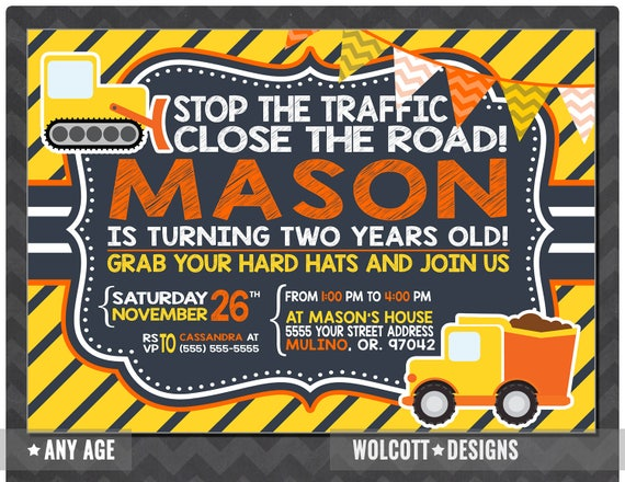 Construction Party Invitations Toddler Construction Birthday