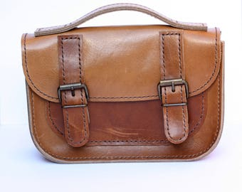 Hand Stitched Genuine Classic Mini Me Leather Satchel - Thick Tan Brown
