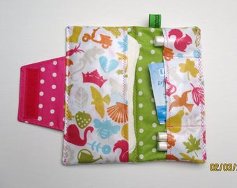Pouch / case for panty liners / bags for tampons / pouch for panty liners and tampons, hygiene pouch / flowers / red