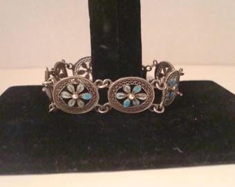 Vintage sterling and enamel bracelet