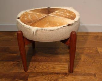 Vintage Danish Teak and Hide stool