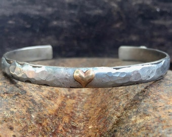 Metal Cuff Bracelet. Heart bracelet. Stackable Jewelry. Skinny Bracelet. Simple Jewelry.