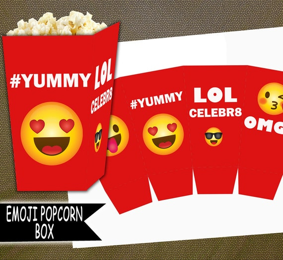 Hearts Emoji Printable Popcorn Box