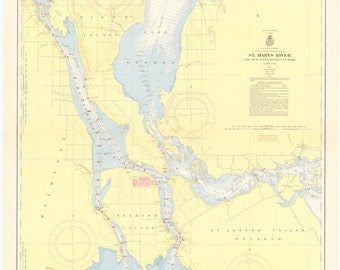 St. Mary's River Map - Lake Munuscong to Sault Ste Marie - 1957