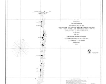 Monterey to Columbia River Historical Map 1851 (b&w)